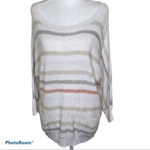 Loft Pull over Scoop Neck Tunic Striped Size M